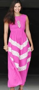 Pink and Lace Maxi Dress